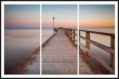 Falkenberg Pier Triptych http://mabrycampbell.com #image #photo #mabrycampbell #photography #seascape #pier #sweden #sunset #øresund #scandinavia #longexposure