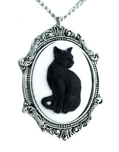 """- Black Cat Cameo Necklace - 2 1/2"""" inches long / 1 1/2"""" inches wide (6.5cm x 4cm) - Very strong Pewter Metal - 24"""" inch (61cm) Heavy Chain - Clasp Close / Adjustable Designed to add a flair to any un"""
