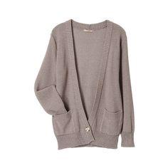 カーディガン ($73) ❤ liked on Polyvore featuring tops, cardigans, outerwear, sweaters, brown tops and brown cardigan