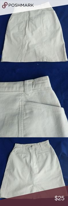 """Khaki canvas skirt 8 Excellent condition!  Textured canvas style fabric.  18"""" top to bottom; 13"""" across waistline; 17"""" across hips.  Back pockets are still sewn shut, and have never been used.  Nice deep front pockets. The Territory Ahead Skirts Midi"""