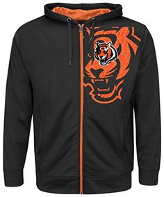 Cincinnati Bengals NFL Mens Majestic Coverage Sack Full Zip Hoodie Black Big  Tall Sizes 2XL ** You can find more details by visiting the image link.