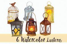 6 Watercolor Lanterns - Clip Art Set by Tati Bordiu on @creativemarket
