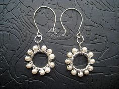 wire wrapping earrings project pearl flowers