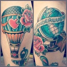Travel Tattoo Ideas - wanderlust hot air balloon