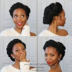 Tresses et cheveux crépus Natural Hair Wedding, Natural Hair Updo, Natural Hair Styles, Natural Curls, African Hairstyles, Afro Hairstyles, Afro Hair Wedding Hairstyles, 4c Hair, Hair Dos