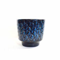 Vintage Pot Planter Blue Black Pottery by NeedorWant on Etsy, $29.00