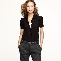 I like the cut of the blouse and if these are wide leg trousers then like the whole look!