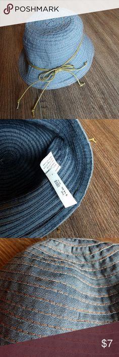 Womens denim stitched hat nwt Light denim with orangish stitching all around. Cute taupe tie around it. Nwt. Accessories Hats