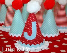 Basic Party Hat in red, light blue, and white.