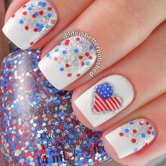 Red, White and Blue Nail Design + Flag Accent Nail