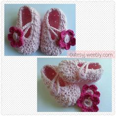 Pink shades crochet little girls booties.