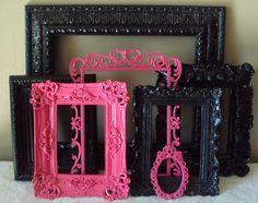 Open Picture Frames. Glamorous. Ornate Shabby Paris Chic Hot Pink Fuschia Black. Designer. Baroque. Wedding. Teen. Gift. 7 pc. Wall Gallery.