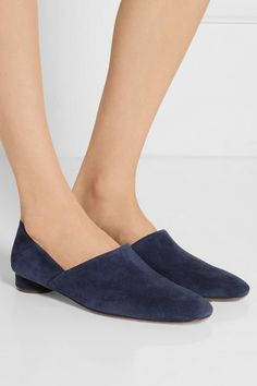 Heel measures approximately 30mm/ 1.5 inches Navy suede Slip on Made in Italy Small to size. See Size & Fit notes.