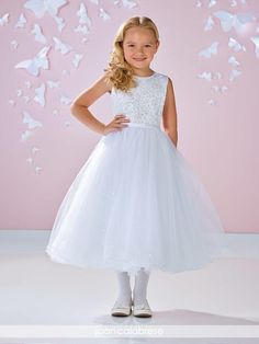 90439f1804d Joan Calabrese Style 117338 - WHITE Satin Dress with Beaded Bodice and  Sequin Skirt