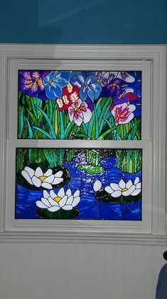 I love painting faux stained glass, so I did the windows when I updated my bathroom to get privacy without hanging curtains Bathroom Curtain Set, Glass Bathroom, Bathroom Sets, Bathrooms, Swag Curtains, Hanging Curtains, Short Curtains, Painting On Glass Windows, Love Painting