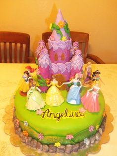 Disney Princess cake with figurines on top