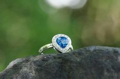 Hand made jewel Ring with heart shaoe blue tooaze and cubic zirconia