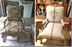 Fabric Chair painted with Chalk Paint.  Mix 1/2 paint with 1/2 water.  First 2 coats go on light (let dry inbetween coats) 3rd coat is heavier.
