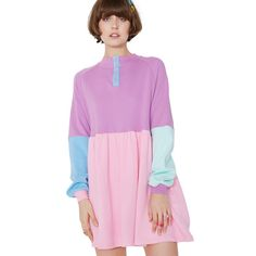 Lazy Oaf Panel Popper Sweater Dress ($92) ❤ liked on Polyvore featuring dresses, color block sweater dress, pink color block dress, colorblock dresses, sweatshirt dress and pink sweater dress