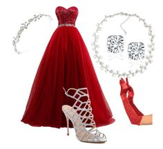 """Red princess"" by kristyna-kiki-kova on Polyvore featuring Carolee and Schutz"