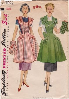 1950s Simplicity 4092 Scallop Apron, Half Apron or Full Apron Vintage Sewing Pattern, Size Med, Bust