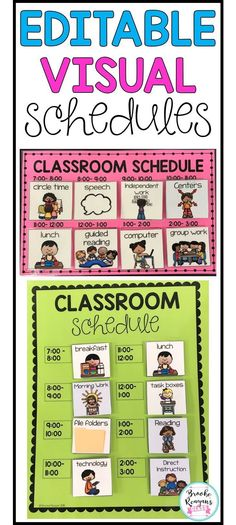 Editable visual schedule for students that need a visual reminder of the schedule throughout the school day. Print, cut and laminate. Apply Velcro to schedule cards and schedule time slots to change schedules as needed. Editable to fit your specific times and schedules.