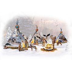 Best Christmas Gifts and Holiday Gift Ideas: New 2020 Collections - The Bradford Exchange - Page 28 Native American Teepee, Native American Decor, Native American Fashion, Thomas Kinkade Christmas, Native American Spirituality, Christmas Village Display, Christmas Decor, Eagle Art, Indian Paintings
