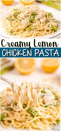 Creamy Lemon Chicken Pasta with Asparagus made easy with juicy chicken, fresh lemon and vegetables and a light, creamy sauce. Perfect weeknight lemon chicken dinner. #chicken #dinner #pasta #lemon #creamsauce #easyrecipe from BUTTER WITH A SIDE OF BREAD Lemon Chicken Pasta, Creamy Lemon Chicken, Lemon Pasta, Asparagus Pasta, Easy Chicken Recipes, Italian Chicken Recipes, Easy Chicken Dinner Recipes, Chicken Ideas, Easy Cookie Recipes