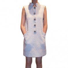Oscar de la Renta white sleeveless buttoned dress