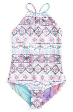55e649a7bd Seafolly Festival Surf Reversible One-Piece Swimsuit (Big Girls) available  at  Nordstrom