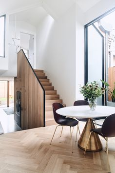 White walls and timber stairs are always a great idea. Engineered Timber Flooring, Pvc Flooring, Floors, Interior Stairs, Interior Architecture, Interior Design, Timber Stair, Floor Colors, Australian Homes