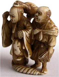 19th Century Japanese Carved Surumawashi Netsuke Signed Tomonobu