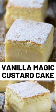 Vanilla Magic Custard Cake is melt-in-your-mouth soft and creamy. You have to try this delicious, triple layered cake. Delicious Cake Recipes, Easy Cake Recipes, Frosting Recipes, Yummy Cakes, Easy Desserts, Sweet Recipes, Baking Recipes, Dessert Recipes, Vanilla Magic Custard Cake