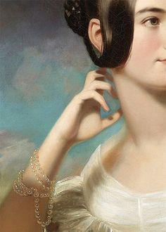 Traveling through history of Art...'Miss Jane Mercer', detail, by Samuel Bell Waugh, 1840. https://musetouch.org/?p=15226
