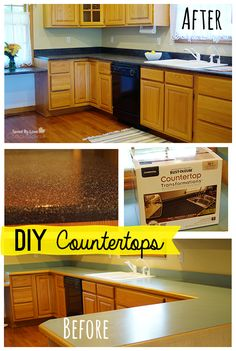 What a great transformation from ho-hum laminate countertops to snazzy ones with minimal $$ or time! Rustoleum Countertop Transformation Review @savedbyloves