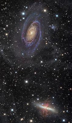 #M81 (#BodesGalaxy), #M82 (#CigarGalaxy) and part of #IFN, #Messier81…