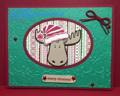 Jolly Friends from Stampin' Up! Cherry Cobbler & Emerald Envy with the Holly Emboss Folder