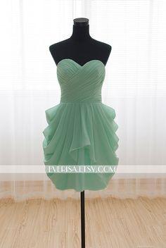 Sweetheart Knee-length Short Mint Bridesmaid Dress Wedding Party Dress Prom Dress 2014 on Etsy, $55.00