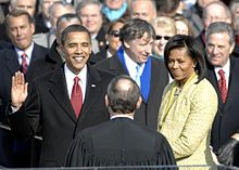 The inauguration of Barack Obama as the 44th President of the United States took place on Tuesday, January 20, 2009. He is the first African American to hold the office. The inauguration marked the commencement of the four-year term of Barack Obama as President and Joe Biden as Vice President.