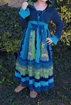 upcycled sweater coat-blue and green