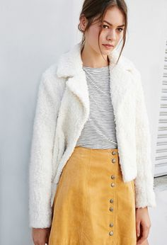Faux Shearling Jacket with a striped tee and button front skirt