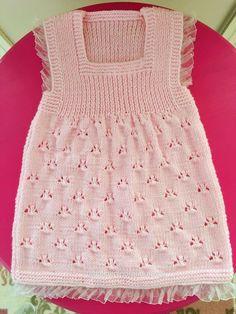 Jasmine Dress Knitting pattern by Suzie Spark - Knit & Share - Her Crochet Kids Knitting Patterns, Knitting For Kids, Baby Patterns, Baby Pullover, Baby Cardigan, Diy Crafts Knitting, Toddler Sweater, Crochet Girls, Baby Sweaters