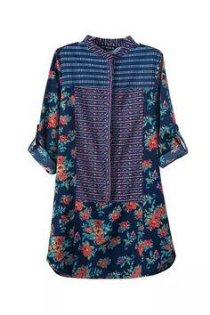 Blue Retro Floral Print Mini Dress