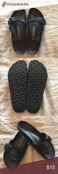Birkenstock Black EVA Madrid Sandal Worn only twice. Size 37 Birkenstock Madrid slides which are made of soft, lightweight  EVA material. There is a slight scuff on one toe shown in pictures. Not noticeable when on your feet. Birkenstock Shoes Sandals