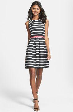 Eliza J Belted Stripe Jacquard Fit & Flare Dress
