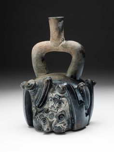 Stirrup-Spout Vessel with Feline and Cactus, Chavín culture, North Coast of Peru, 900 / 200 B.C. The Art Institute of Chicago, Online Collection