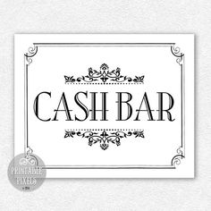 printable cash bar sign black and white wedding sign party sign choose your size cas1b