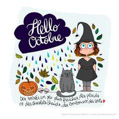 Hello Novembre, October Wallpaper, French Cartoons, Cartoon Quotes, Hello October, Calendar Design, Halloween, Happy Life, Doodles