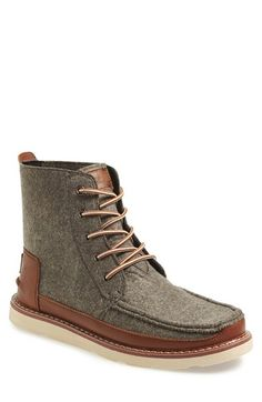 Free shipping and returns on TOMS 'Searcher' Moc Toe Boot (Men) at Nordstrom.com. With its felt and leather upper and durable rubber sole, the Searcher is sure to be a go-to boot, whether you're hiking the woods or the urban jungle. Since Blake Mycoskie started TOMS in 2006, the company has given away 10 million shoes to children in need across the globe through sales of their now-iconic slip-on shoes and the 1 for 1 donation program.