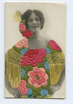 Preciosilla Embroidered Silk Photo Dancer Spain Shawl Lady 1910s postcard d07